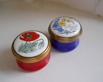TWO small Crummles pill boxes with flowers