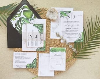CABANA SUITE   Tropical Wedding Invitation, Marble Wedding Invitation, Palm  Leaves Wedding Invitation,