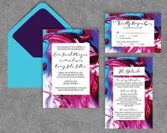 Printable, Contemporary Liquid Wedding Invitations