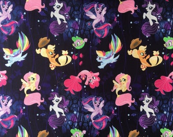 My Little Pony Fabric, by the yard, My Little Pony Mermaid Tales, Cotton Woven, Fabric by the yard, TheFabricEdge