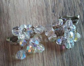 Sparkly Clip On Earrings Sparkly Earrings Pin Up Earrings Clear Crystal Earrings Crystal Clip On Earrings Vintage Clip On Earrings