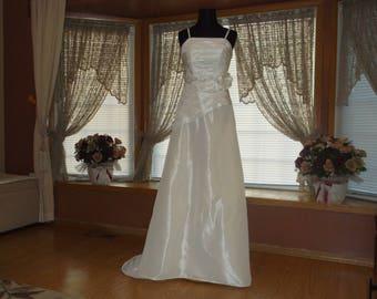 White/Silver Beaded Ivory Taffeta Wedding Gown