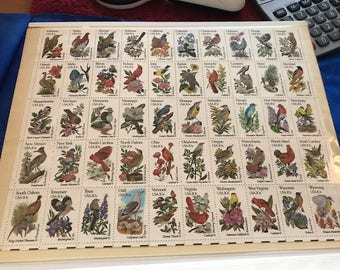 Vintage Postage Stamps - US State Birds, full sheet