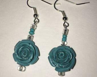 Handmade Blue Flower Earings