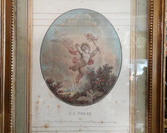 Authentic 18th century the madness of Fragonard and Janinet engraving
