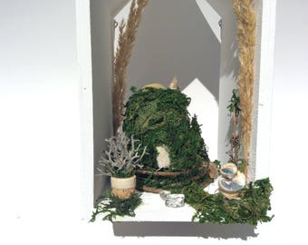 Miniature fairy house and garden