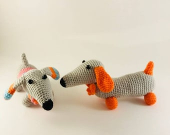 Crochet dogs, 2018 year's symbol, cute, crochet accessory, wedding gift,  lala present, 6.3 inch long each, character is wow