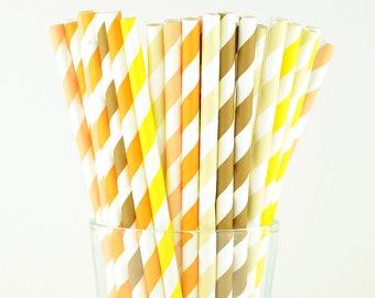 Autumn Paper Straws Mix, Striped Paper Straws, Holiday Straws, Party Decor, Cake Pop Sticks, Party Supplies, Mason Jar Straws