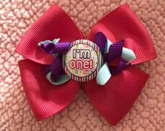 First birthday hair bow