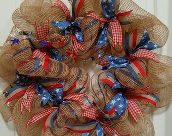Patriotic Ribbon Wreath
