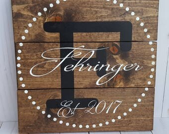 Custom Last Name sign, Wedding Anniversary Gift