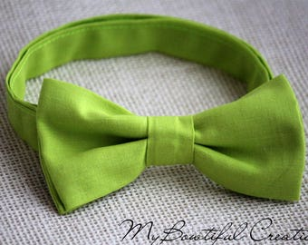 Lime green bow tie, boys bow tie, lime green bow tie for men, wedding bow tie, groomsmen bow tie