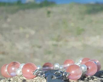Gorgeous cherry quartz and white pearl bracelet with stainless steel heart charm