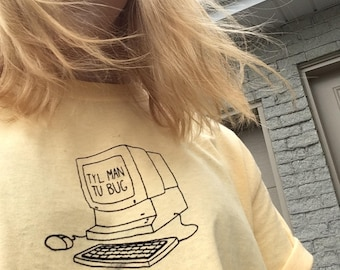 TYL MAN you bug / / yellow T-shirt screen printed