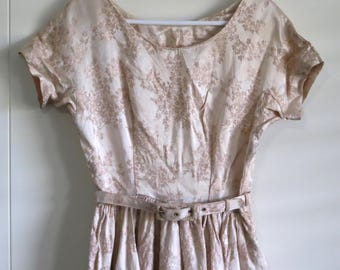 Vintage late 40s handmade tapestry dress ivory pink