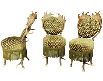 three rare antler parlor chairs, austria ca. 1880
