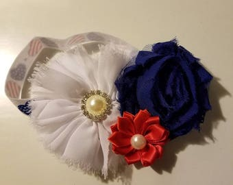 Red, White, and Blue Flower Headband.