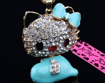 Blue Kitty with Bow and Rhinestones