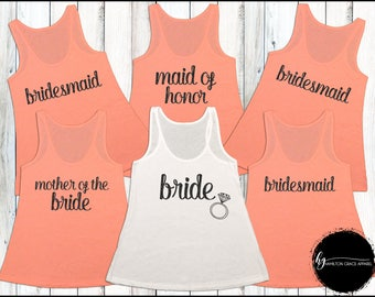 Bridesmaid Shirts Bridesmaid Shirt Set Bachelorette Party Shirts Bridesmaid Tank Tops Wedding Shirts Bride Shirt Maid of Honor Shirt