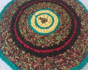 """Handmade crochet rag rug, red black yellow green purple, 28"""" round"""