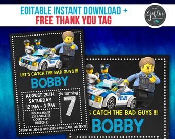 Lego Police Invitation, Lego Birthday Invitation, Police Birthday, Lego Police Party, Lego Police Invite, Lego Police Printable, Lego Police