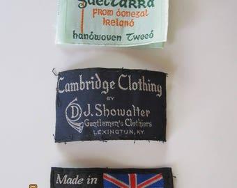 Clothing labels (2 International, 1 American)