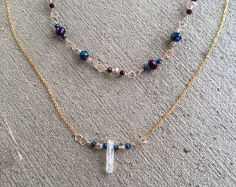 Gold single crystal necklace with beads