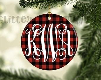 Monogram Ornament, Custom Ornament, Personalized Ornament, Buffalo Plaid Ornament, Porcelain Ornament, Ornament   Ornament for her