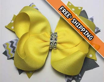 Floral Print Stacked Hair Bow, Stacked Bow, Hair Bow, Grosgrain, Bling, Yellow, Gray, Sparkle, Pink, Peach, Lt Blue, White, Flowers
