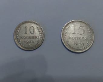 A set of silver coins of the Soviet Union.