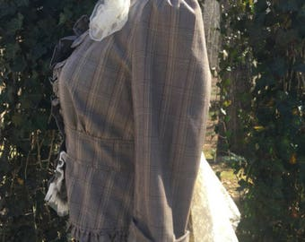 Steampunk Tartan Jacket Plaid Claire Lace Scottish Inspired Romantic Jacket