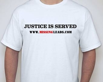 "Men's White T-Shirt with ""JUSTICE IS SERVED"" imprint."