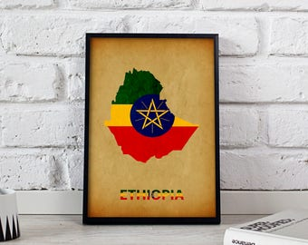 Ethiopia art Country Map poster Ethiopia poster wall art wall decor Gift print