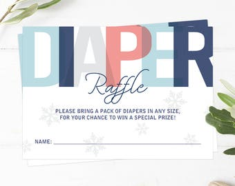 Diaper Raffle Printable Winter Diaper Raffle Cards Instant Download Winter Baby Shower Diaper Raffle Ticket Blue Diaper Raffle Tickets WB1