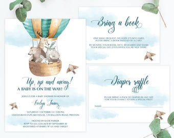 Up Up and Away Baby Shower Invitation Set Template Download, Hot Air Balloon Baby Shower Invite Kit, Editable Baby Shower Templates PDF, UA1