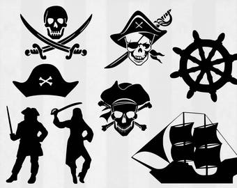 Pirate SVG Bundle, Pirate clipart, Pirate cut files, Skull svg, svg files for silhouette, files for cricut, svg, dxf, eps, cuttable design