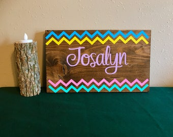 Custom Girls Name Plaque with Chevron