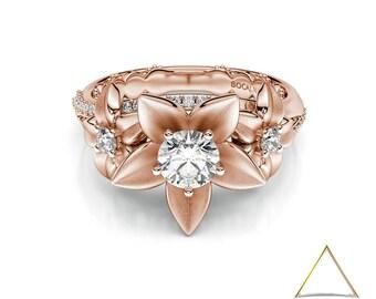 Flower Engagement Ring, 14K Rose Gold Ring, Flower Diamond Ring, Blossom Diamond Ring, Bridal Flower Ring, Unique Diamond Ring, Rose Gold