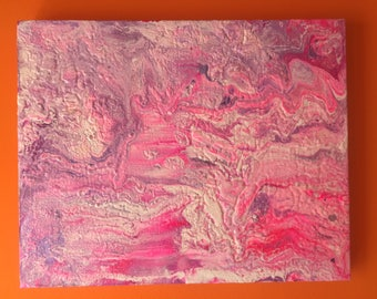 Pink Rocks. Original Painting. Abstract Landscape. Canvas. Wall Art. Contemporary. Pour Art.