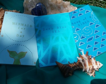 Mermaid: Cahier Notebook Journal Set, Handmade with Archival Quality Paper - Pocket-Sized