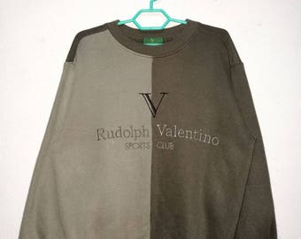 Vintage Rudolph Valentino Embroidered Big Logo 2-Tone Sweater Sweatshirt