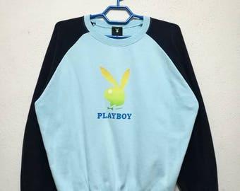Vintage Playboy Bunny Big Logo 2-Tone Sweater Sweatshirt