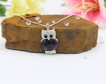 Owl Amethyst Necklace February Birthstone Jewelry Amethyst Necklace Gemstone Amethyst crystal bead Necklace Necklace Girlfriend gift|for|her