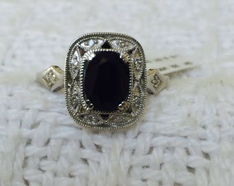 Women's New Huge 2CT Sapphire and diamond silver ring