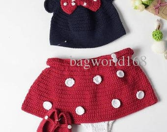 Baby Crochet Hat with Red Bow Diaper Cover and Shoes to Match Handmade Baby Clothing Set