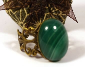 Ring green agate filigree color bronze medieval spirit - gift idea for woman