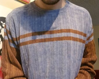 Vintage Levi Strauss & Co Size XL Men's Blue and Brown Sweater