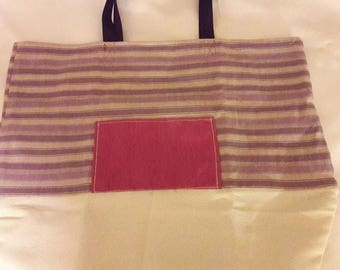 Shopping Bag  lined - Strip Purple with white  and pockets