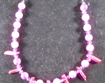 Necklace - Hot Pink Crystals & Glassbeads #2
