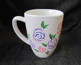 Hand-painted Flower Coffee Mug